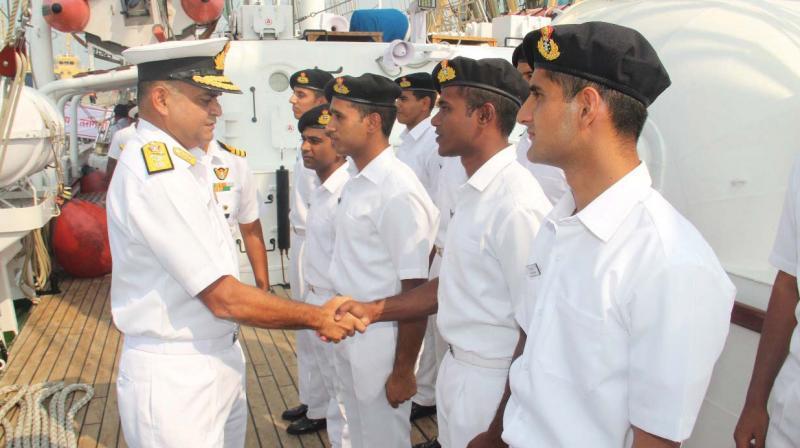 SNC Chief of Staff Rear Admiral RJ Nadkarni meet the crew of INS Tarangini on her return to Kochi.