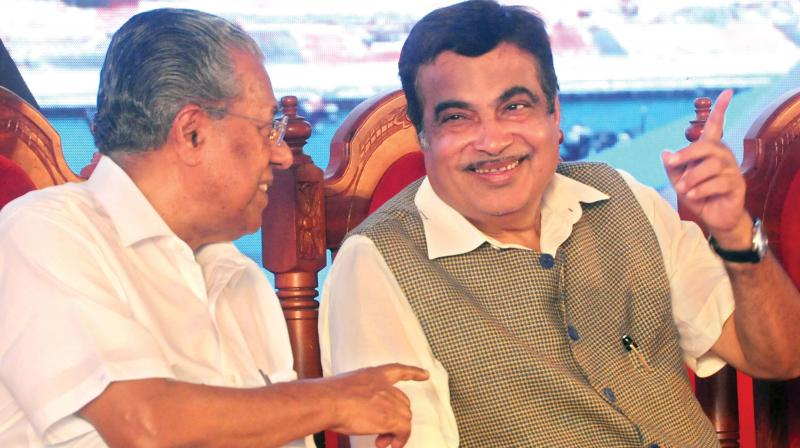 Chief Minister Pinarayi Vijayan and Union Minister for Shipping and Road Transport Nitin Gadkari  during the foundation laying ceremony of dry dock in Kochi on Tuesday. –   ARUN CHANDRABOSE