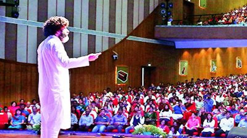 Mahatria Ra at one of the events by his organisation Infinitheism.