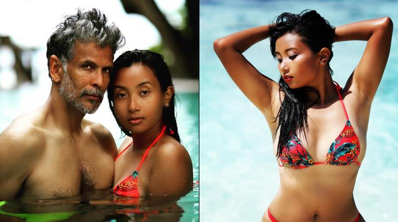 Milind Soman and his wife Ankita Konwar. (Photo: Instagram)