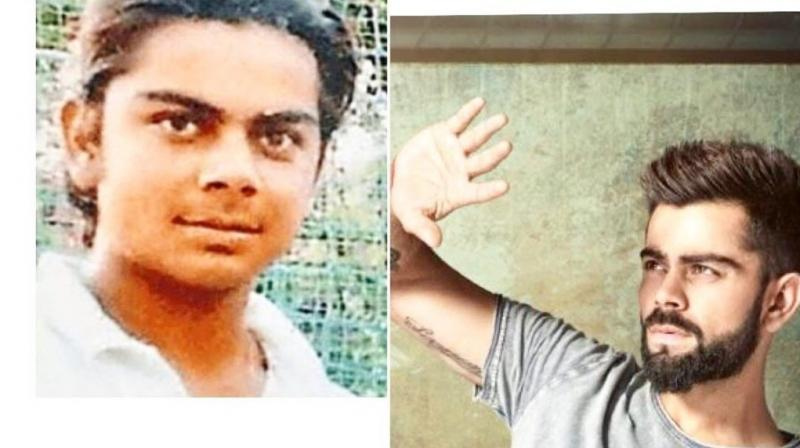 The first image is of a 16-year-old Kohli posing for a photograph, while the other shows the Indian skipper as we know him today. (Photo: Virat Kohli/Twitter)