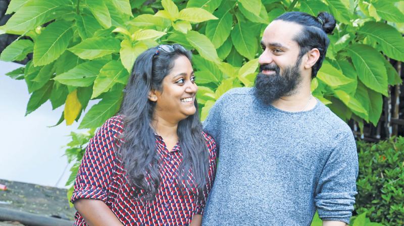 Vishal Chandrashekar with wife singer Sinduri