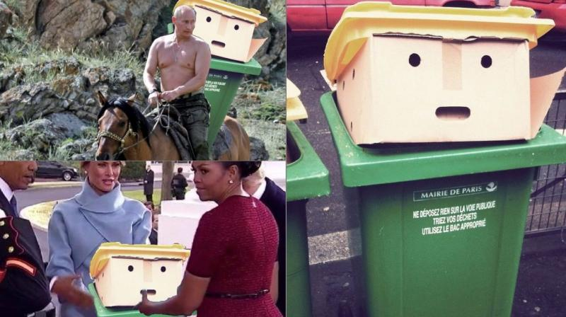 A dustbin that seems to resemble the new US president Donald Trump due to a yellow lid like his hair has sparked another photoshop battle (Photo: Twitter)