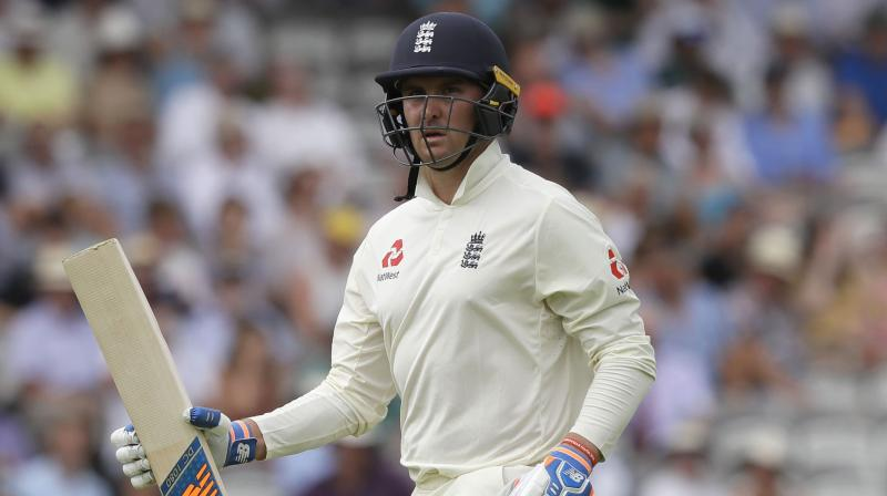 England batsman, however, missed out on completing his maiden Test hundred as Roy was bowled by Stuart Thompson for 72. (Photo: AP)
