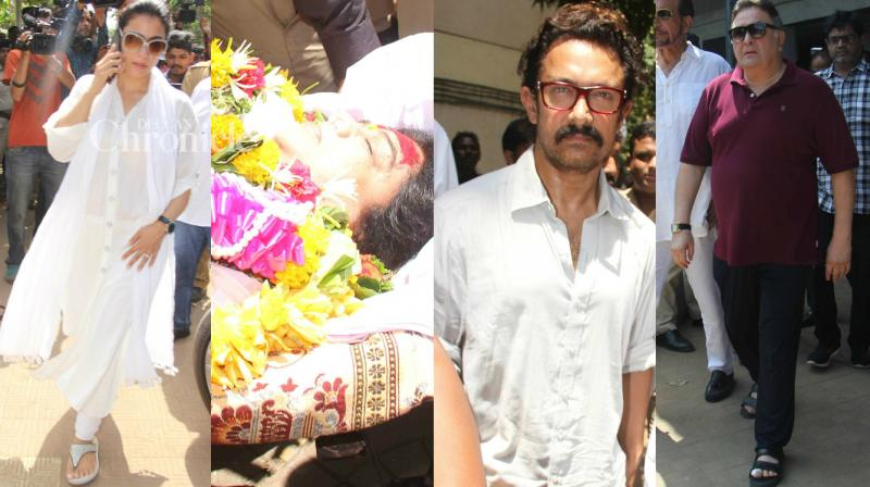 Stars from the Hindi and Marathi film industries paid their last respects to Reema Lagoo, who passed away late Wednesday, at her funeral on Thursday in Mumbai. (Photo: Viral Bhayani)