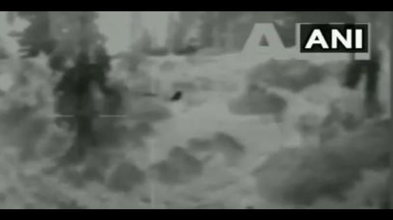 The black spot in the video represents Pakistan's BAT. It was stopped by the Indian troops on the night of September 12. (Photo: Twitter | ANI)