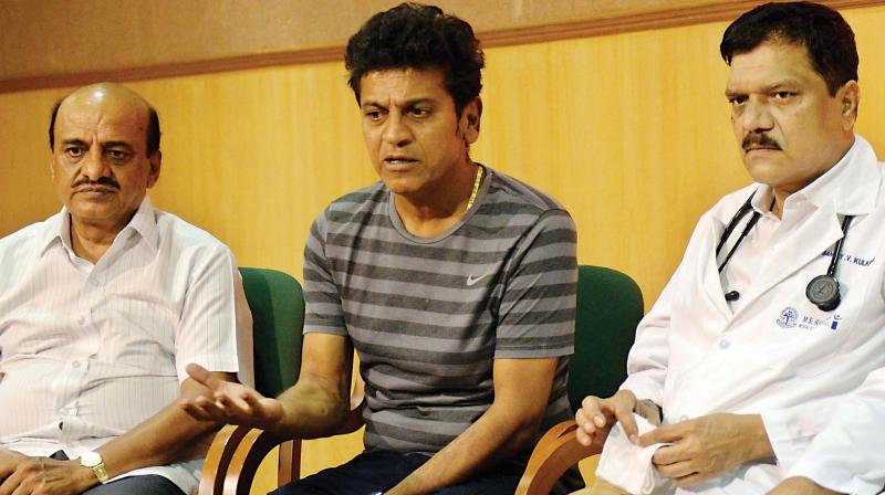 Actor Shivarajkumar and doctors of M S Ramaiah Hospital addressing a press conference about the health condition of Parvathamma Rajkumar in Bengaluru on Thursday