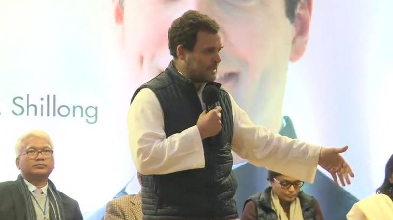 Rahul, who is on a two-day visit to the state, also reiterated the views during his interaction with tribal leaders and prominent citizens in Shillong. (Photo: ANI)