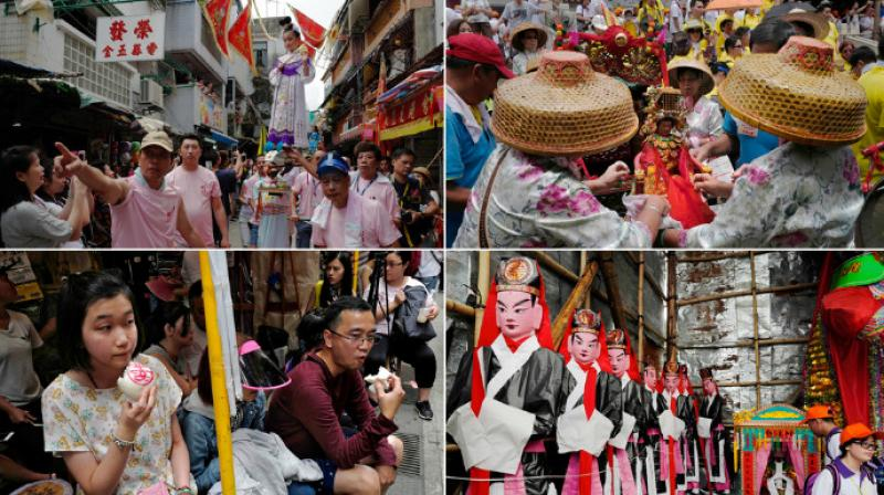 The Hong Kong bun festival is held every year to make the spirits of people killed by pirates happy through various parades and food like buns. (Photo: AP).