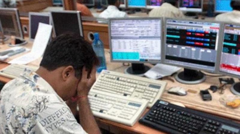 After swinging over 423 points intra-day, the 30-share BSE Sensex ended down by 304.26 points, or 0.73 per cent, at 41,253.74. (Photo: File | PTI)