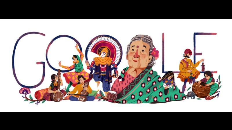 Google doodle celebrates the 115th birth anniversary of Kamladevi Chattopadhyay