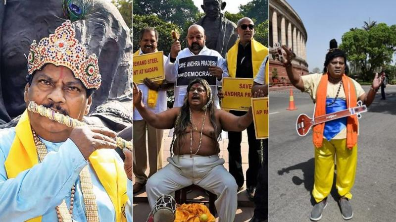 Parliament sessiosn have become a photographger's delight with Telugu Desam Party MP Naramalli Sivaprasad donning various outfits to protest against Narendra Modi government over special status for Andhra Pradesh. (Photos: PTI)