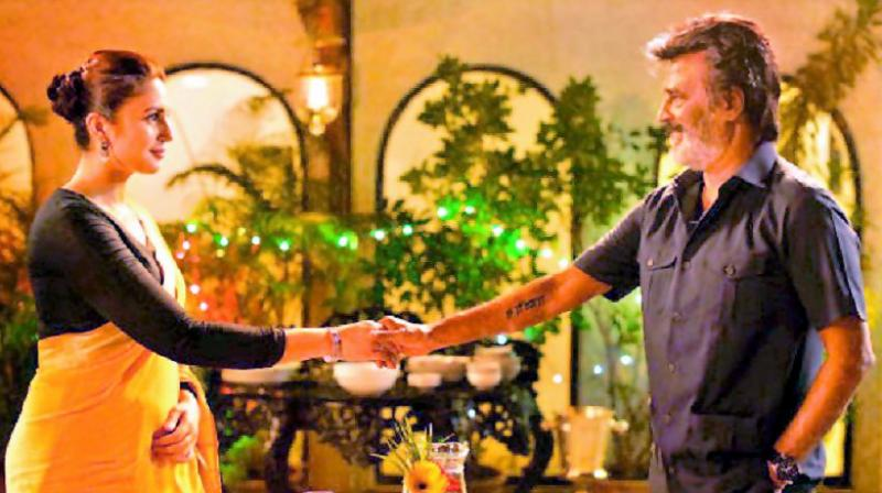 Huma Qureshi and Rajinikanth in Kaala