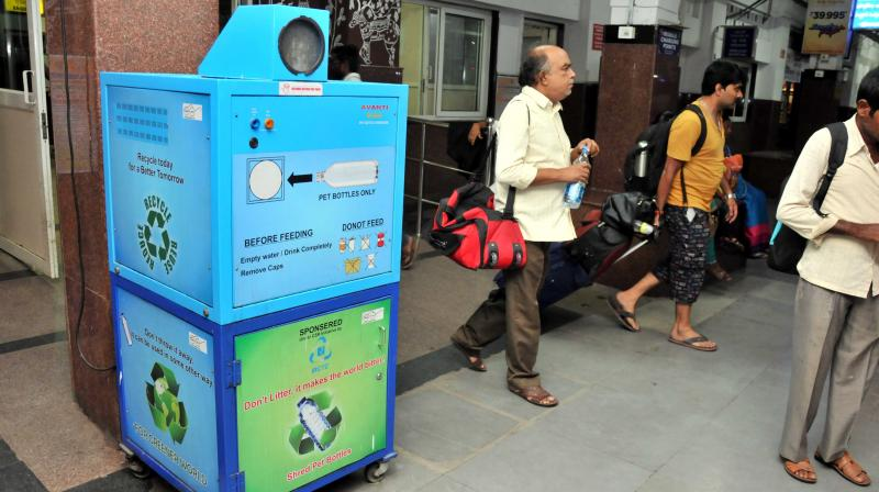 Plastic crusher unit has been setup at Kacheguda railway station.