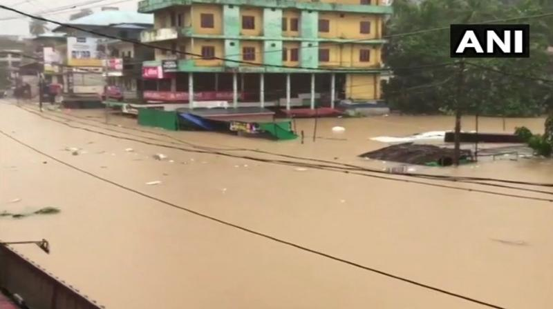 With large parts of Maharashtra, Karnataka and Kerala reeling under extensive flooding due to incessant rains, the Western Naval Command of the Indian Navy has mobilised considerable resources to provide assistance to state and district administrations of affected areas. (Photo: Twitter/ ANI)