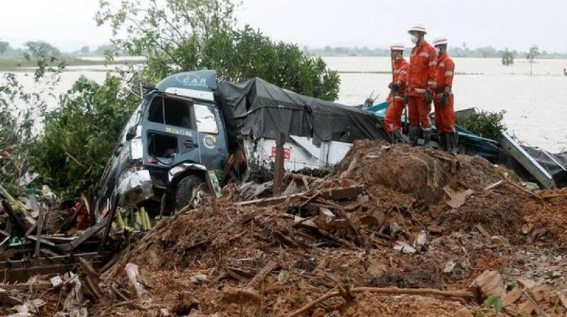 At least 51 people lost their lives after monsoons triggered landslides in Myanmar's Mon State, according to the country's Fire Services Department. (Photo: ANI)