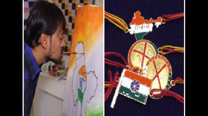 As Independence Day is all set to be celebrated with Raksha Bandhan this year on August 15, the markets and jewellery shops are displaying the colour of nationalism while representing the current political mood in the country. (Photo: ANI)