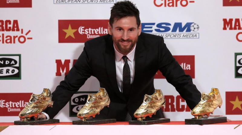 Messi Was Presented With The Trophy By Teammate Luis Suarez Who Won Award In