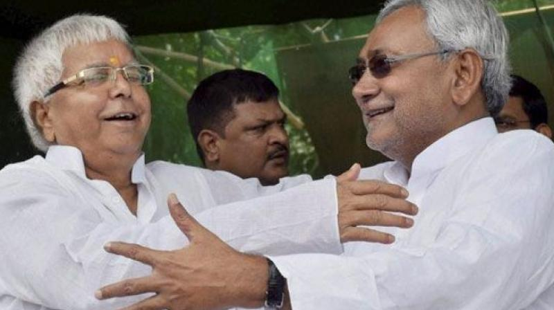 RJD chief Lalu Yadav with Nitish Kumar