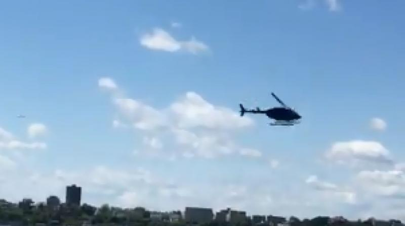 Dramatic video footage of the incident shot by witnesses and posted on social media showed the helicopter spinning seemingly out of control over the Hudson near 30th Street, before plummeting into the water. (Photo: Screengrab)