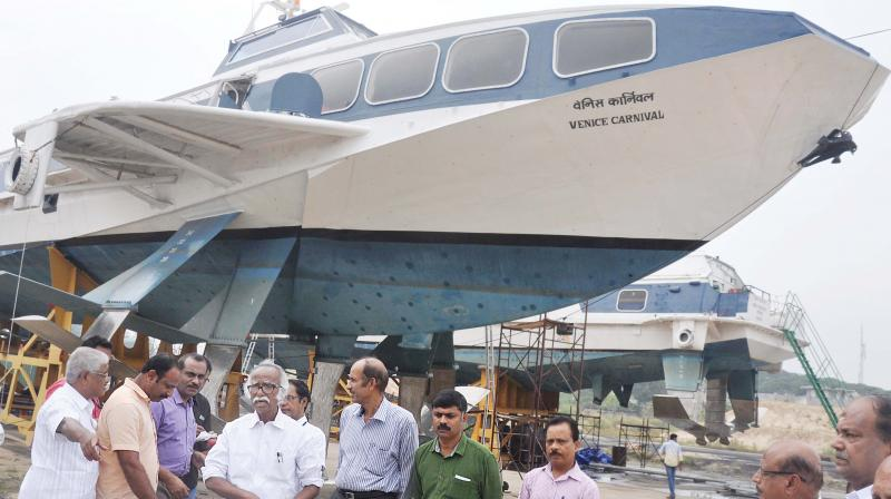 Ports minister Kadannappally Ramachandran visits the two hydrofoil ferries at Mattancherry wharf .
