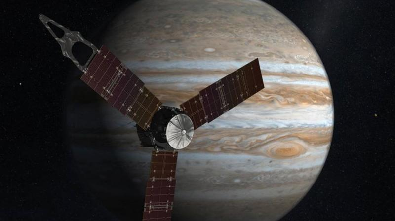 Juno launched on August 5, 2011, from Cape Canaveral, Florida, and arrived in orbit around Jupiter on July 4, last year. During its mission of exploration, Juno soars low over the planet's cloud tops — as close as about 3,400 kilometres.