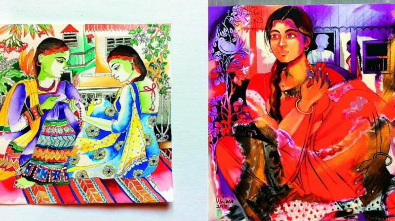 Anjani's artworks are mostly women-centric and unveil the intricate nuances and  anecdotes that take place in their lives