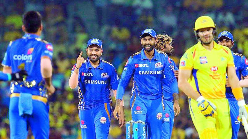 Mumbai Indians players celebrate the wicket of Shane Watson during their victory over Chennai Super Kings in Chennai on last Friday. (Photo: BCCI)