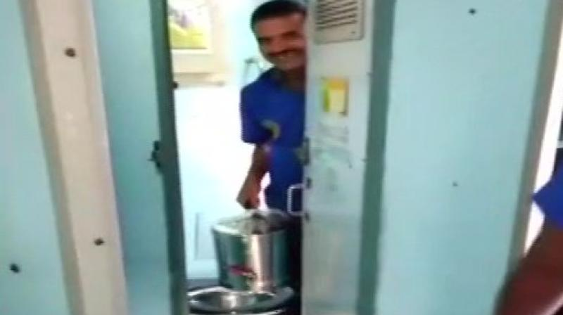 All the while in the sweltering heat, Mr Rao lay in the toilet, helpless and untraced. (Photo: ANI/Twitter)