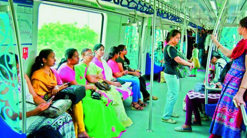 L&T Hyderabad Metro Rail has replied that the ladies coach was only for women during both peak and non-peak hours.