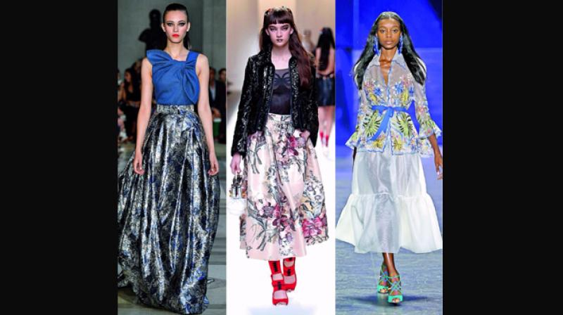 (Clockwise) Creations from  Carolina Herrera, Oscar de la Renta, Naeem Khan and Fendi.