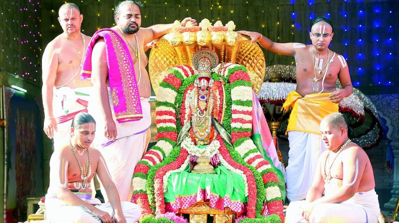 Lord Sri Ramachandra Murthy took out a celestial ride on five hooded serpent king Vasuki as a part of ongoing annual Brahmotsavam in TTD's Sri Kodanda Rama Swamy temple in Tirupati.(Photo: DC)