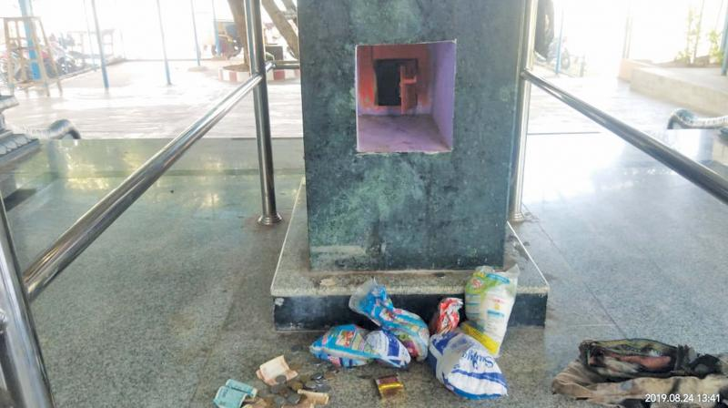 Investigations found that the cash was stolen from the hundi, though the men had attempted to break open the shrine door to steal jewels.