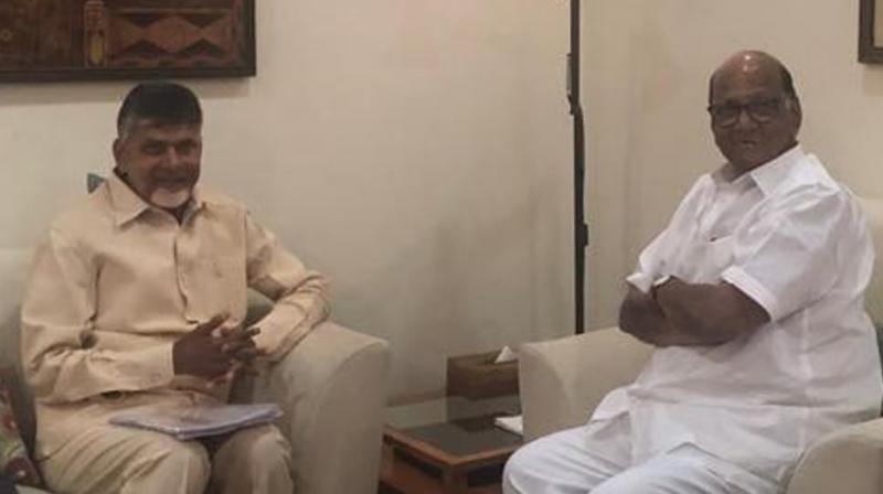 Naidu also met NCP chief Sharad Pawar and LJD leader Sharad Yadav. (Photo: ANI| Twitter)