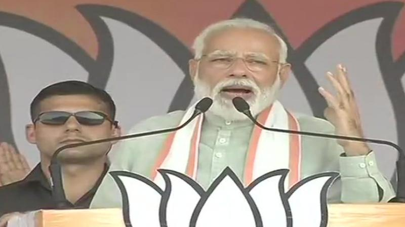 Prime Minister Narendra Modi on Sunday accused the Congress of hatching the 'Hindu terror' conspiracy to defame the country's religious heritage. (Photo: ANI twitter)