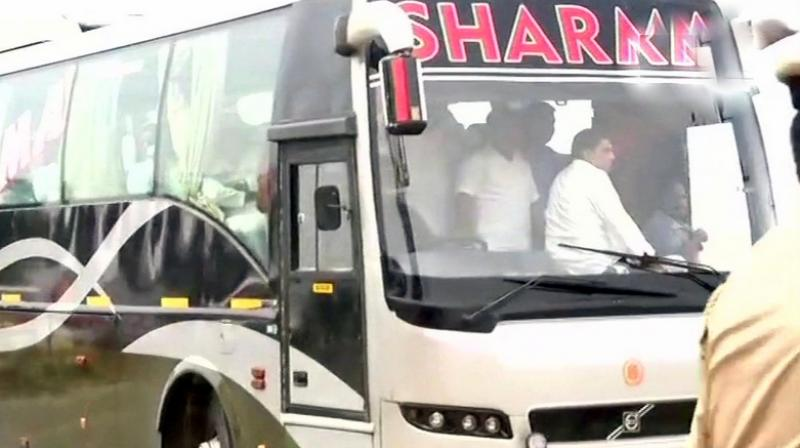 Congress that had moved its legislators to Eagleton resort near Bengaluru on Wednesday has now decided to move them out of Karnataka, say reports. (Photo: ANI/Twitter)