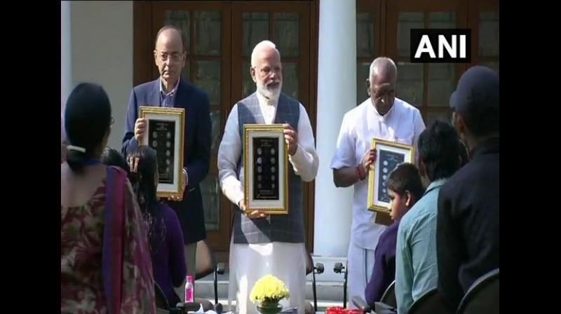 The Prime Minister expressed happiness in hosting them and thanked them for giving him an opportunity to interact with them. (Photo: ANI)