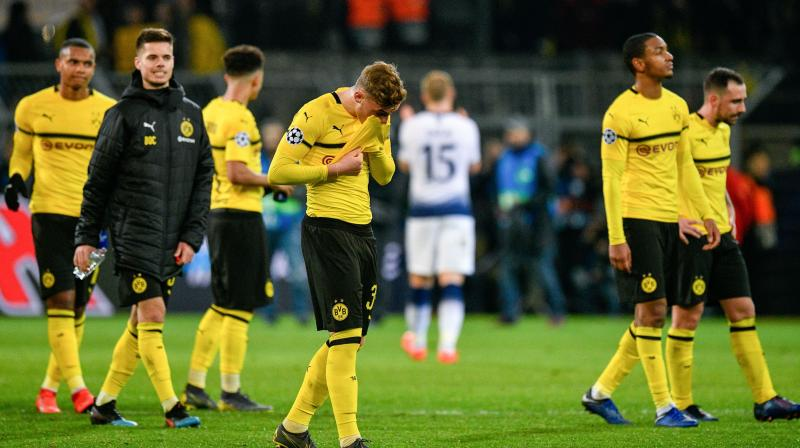 Sancho's goals were enough to lift Dortmund, who were dominant in the first half but inexplicably eased off after the break, to 66 points with five games left to play.  It leaves them two points ahead of Bayern Munich but the champions can move back to the summit again if they beat Fortuna Duesseldorf on Sunday. (Photo: AP)