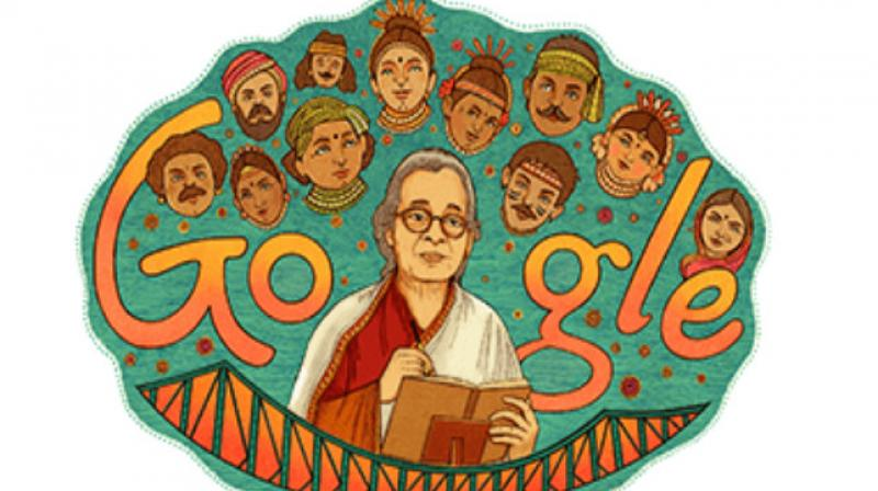 Born in 1926 in Dhaka to well-known poet Manish Ghatak and Dharitri Devi, also a writer and social worker, Mahasweta Devi grew up in a political and literary environment. (Photo: Google doodle)