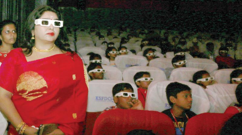 Actor Sonia at the screening of My Dear Kuttichathan during the International children's film festival in Thiruvananthapuram on Saturday. (Photo: A.V. MUZAFAR)