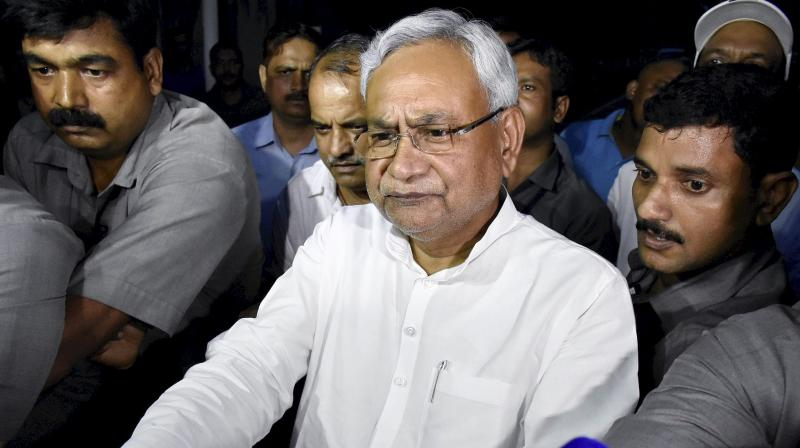 Bihar Chief Minister Nitish Kumar speaks to the media after meeting Governor KN Tripathi, in Patna on Wednesday.  (Photo: PTI)