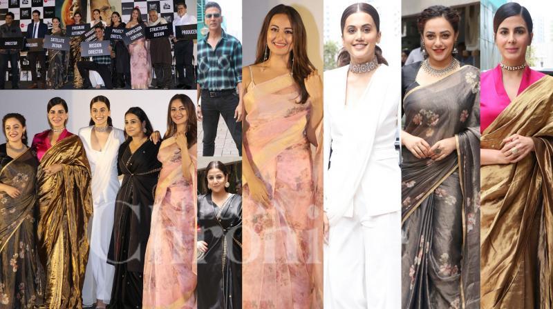 On Thursday, Akshay Kumar launched his upcoming film Mission Mangal's trailer in Mumbai. The film's star cast, Vidya Balan, Sonakshi Sinha, Taapsee Pannu, Kirti Kulhari, Nithya Menen, Sharman Joshi and H. G. Dattatreya were present at the trailer launch. (Photos: Viral  Bhayani)