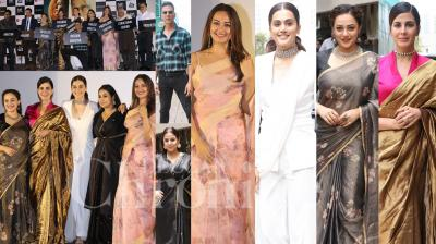 On Thursday, Akshay Kumar launched his upcoming film Mission Mangal's trailer in Mumbai. The film's star cast, Vidya Balan, Sonakshi Sinha, Taapsee Pannu, Kirti Kulhari, Nithya Menen, Sharman Joshi and H. G. Dattatreya were present at the trailer launch. (Photos: Viral  Bhayani)
