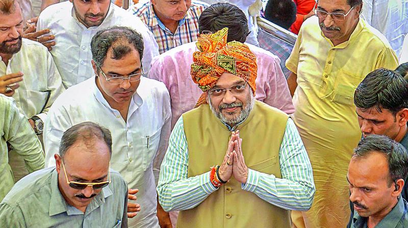 Shah set a target of enrolling 18 lakh new members in Telangana to the existing 18 lakh, instead of 12 lakh as planned earlier. (Photo: File)