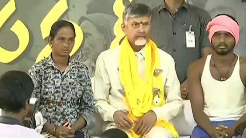 "Before sitting on 12-hour long 'Sand Deeksha' fast, Naidu took to Twitter and wrote: ""I am undertaking Deeksha to press 3 demands: Reintroducing Free Sand Policy, awarding Rs 25 lakhs ex-gratia to families of suicide victims."" (Photo: ANI)"