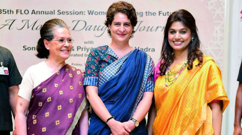 Sonia Gandhi, Priyanka Gandhi Vadra and Pinky Reddy, the National President FLO 2018-19, who hosted and moderated the event.