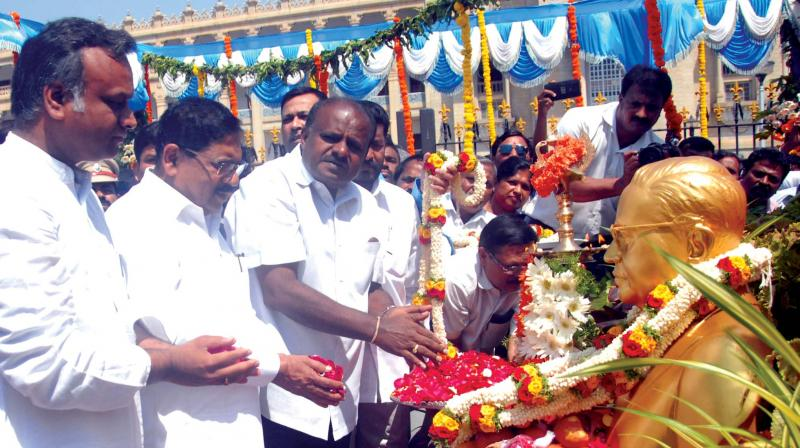 CM H.D. Kumaraswamy, deputy CM Dr. G. Parameshwara and others participate in Dr B.R. Ambedkar Jayanti at Vidhana Soudha in Bengaluru on Sunday. (Image KPN)