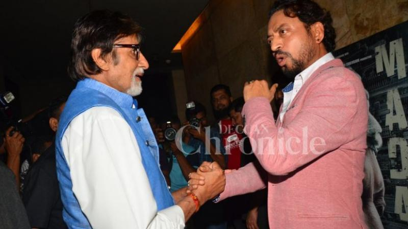 Amitabh Bachchan and Irrfan Khan at an event.
