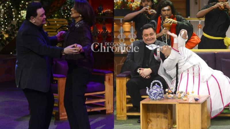 Rishi and Neetu Kapoor shot for Kapil Sharma's comedy show on Tuesday. (Photo: Viral Bhayani)