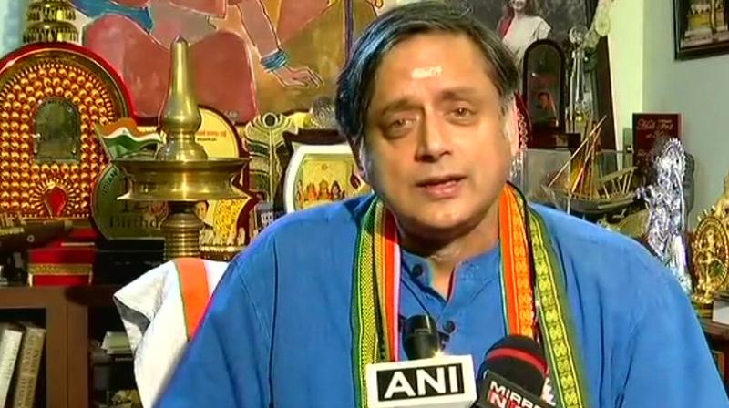 Congress leader Shashi Tharoor said, 'If BJP does not believe in Hindu Rashtra concept then they should say it on record that we do not believe in a Hindu Rashtra but in a secular republic.' (Photo: Twitter/ANI)